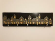 Shabby Chic Coat Key Hook Wall Hanger, Wood - Black / Silver / Gold