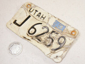 UTAH MOTORCYCLE LICENSE PLATE J 6259