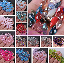 Lot Bulk 20pcs 16X8mm Teardrop Crystal Glass Faceted Loose Spacer Beads Pendant
