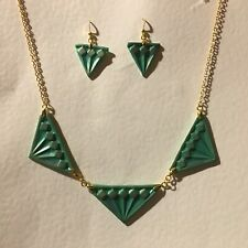 ART DECO STYLE NECKLACE & DROP EARRINGS SET * TRIPLE DIAMOND * GREEN GOLD PLATED