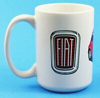 Fiat Automobiles Ceramic 14 oz Cup Mug Logo Two Cars Vintage White Red Black EUC