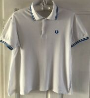 Vintage Men's White Fred Perry Polo Shirt Size Medium Blue Trim Collar