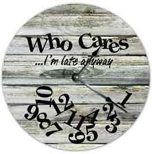 "10.5"" WHO CARES I'M LATE ANYWAY Wall Clock Beach Wall Home Decor - 7118B"