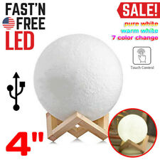 "4"" Moon Lamp Night Light Lunar 3D Printed Globe Led Desk Lantern Touch Moonlight"
