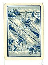"Single Vintage Old Wide Playing Card, Reversible ""Kayak"" Blue"