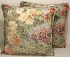 """2 18"""" Watercolor Floral  Green & Yellow Handmade Designer Throw Pillow Covers"""