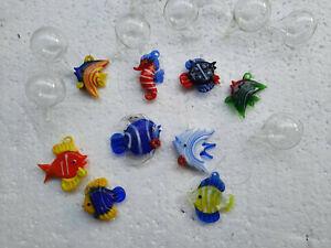 schwimmende Glasfische Set aus 9 Stück