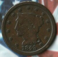 1845 United States Braided Hair Large Cent~-- Pretty good copper coin~