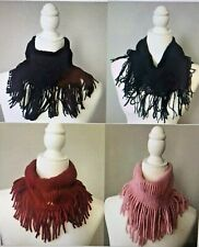 Women's Winter Mini Knitted Neck Warmer Circle Wrap Fringe Loop Scarf Shawl Wrap