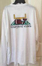 Vineyard Vines Women's Touchdown Football Whale Pocket White T-Shirt Large NWT