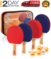 New listing Ping Pong Paddles Table Tennis Set 4 Player Professional Racket Paddle 8 Balls