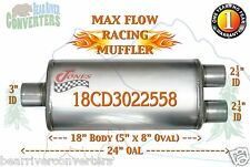 """Max Flow Muffler 18"""" Oval Body 3"""" Center/ 2 1/4"""" Dual Pipe 24"""" OAL 18CD3022558"""