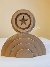 MDF CRAFT SHAPE. WOODEN 3D RAINBOW CAPTAIN AMERICA SHEILD STACKER.