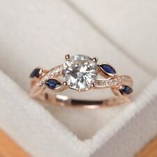 1ct Round Cut Diamond Blue Petals Solitaire Engagement Ring 14k Rose Gold Over