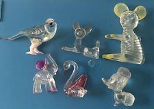 6 Vintage Lucite Plastic Animal Statue Bird Dog Swan Deer Mouse Hong Kong 70's