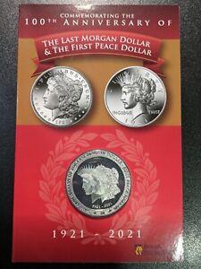 2021 British Virgin Islands 100 Years Morgan & Peace Dollar Coin in Card