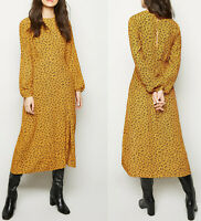 New Look Womens Mustard Floral Long Sleeve Midi Tea Summer Casual Vintage Dress