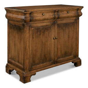 """43"""" W Commode Brown Reclaimed Solid Pine Wood Transitional 2 Door 2 Drawer"""