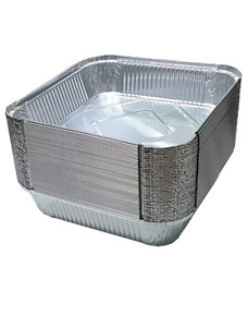 """#  9 x 9 x 2"""" Deep Square Large Aluminium Foil Food Container Trays With Lids"""