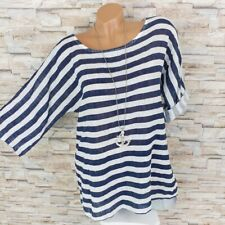 MADE IN ITALY Streifen Shirt Fischerhemd mit Leinen maritim dunkel-blau 36-42