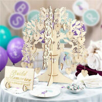 Wedding Guest Book Wooden Tree Hearts Pendant Drop Ornaments Party Decoration BW