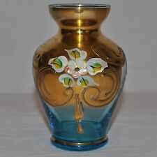 RARE Murano Light Blue & GOLD vaso di cristallo firmato