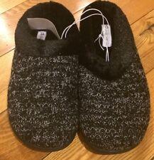 NWT Womens Black DEARFOAMS Crochet Knit Clog Slipper Memory Foam Shoes Sz S 5-6