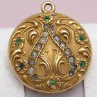 Antique Victorian 10k Gold Filled GF Repousse Flower Paste Locket Pendant