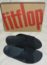 New Fitflop Lulu Shimmer Slide On Black Sandals Cross X Strap Ladies Box Size 5