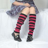 Japanese Striped Punk Leg Warmers Gothic Lolita Cosplay Loose Warm Knit Socks