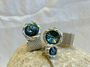 Beautiful! Vtg Cuff Links & Tie Tack Blue Stone Silver Tone Jewelry Bling Gift