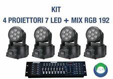 KIT 1 MIXER RGB DMX 192 + 4 PROIETTORE LED RGB TESTA MOBILE ROTAN. 7 LED WASH