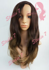 W118 Chocolate Brown Blonde Mix Long Wavy Wig Synthetic Natural Look Skin Top