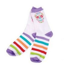 Sugar Skull White Socks New Knit Crew One Size Fits Most Cotton Halloween Adult