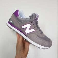 New Balance 574 Unisex Suede and Mesh Stripe Trainers Grey and Purple Size UK 8