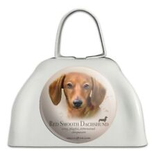 Red Smooth Dachshund Wiener Dog Breed White Metal Cowbell Cow Bell Instrument