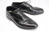 VTG Footjoy Cap Toe Shoes 8.5 D Black Leather Medallion Semi Brogue Oxford Bal