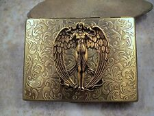 Handmade Antique Bronze Embossed Victorian Angel Cigarette Case