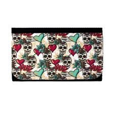 Women's Wallet Nylon Bifold Clutch Colorful Day of the Dead Skull Pocketbook