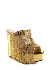 NEW CHARLOTTE OLYMPIA Fringe Wedge Gold Peep Toe Chain Wedges Sz 35 5 $2395