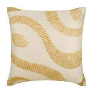 """Decorative Taffeta Couch Pillow 20""""x20"""" Off White Ivory - Curling Up To Gold"""