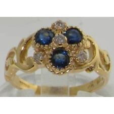 SOLID 9CT HALLMARKED GOLD SAPPHIRE DIAMOND VINTAGE RING