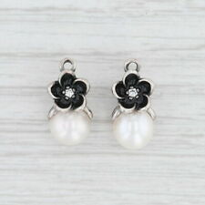 New Authentic Pandora Mystic Floral Pearl Earring Charms 290684P Sterling CZ