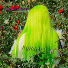 Synthetic Neon Green Ombre Green color Wigs Cheap Long straight Lace Front Wig