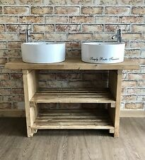Solid Beam Large double Basin Vanity Unit Wash stand Rustic Belfast Butler sink