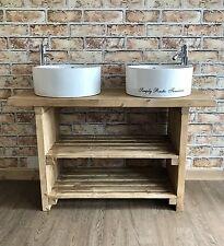TRAVE solido grande doppio bacino MOBILETTO lavare STAND RUSTICO Belfast Lavandino Butler