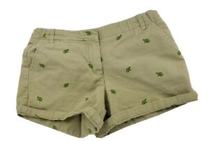 """J Crew 5"""" Short Chino Size 6 Tan Beige w TURTLES Embroidered Pockets Cotton"""