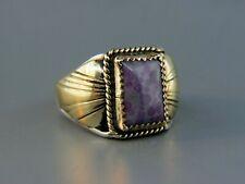 Vintage Navajo Man's Ring Sterling Gold Trim Signed Running Bear