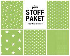 Stoffpaket grün 5x (0,5 x 1,50m) Patchworkpaket Baumwolle Nähpaket DIY Stoffe