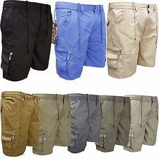Mens Elasticated Plain Summer Shorts Multipocket Cotton Cargo Combat Pants M-3XL